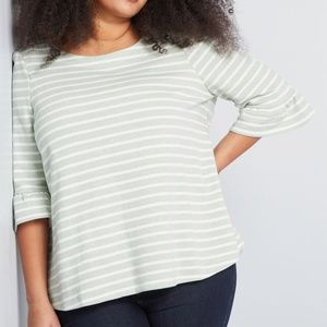 ModCloth | Spiffed Up Saturday Striped Pullover 1X